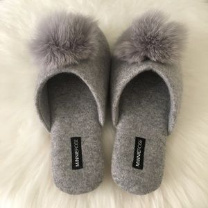 Minnie Rose Gray Cashmere Pom Pom Slippers